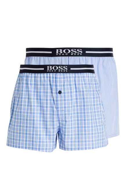 BOSS 2er-Pack Web-Boxershorts, Farbe: HELLBLAU/ WEISS/ BLAU (Bild 1)