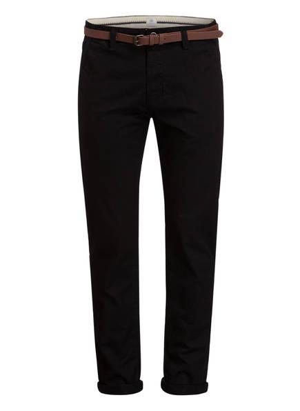 DSTREZZED Chino Slim Fit mit Ledergürtel, Farbe: SCHWARZ (Bild 1)
