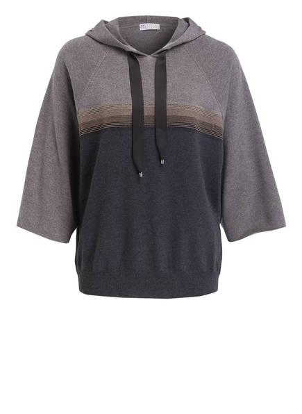 BRUNELLO CUCINELLI Cashmere-Pullover mit Kapuze, Farbe: GRAU MELIERT (Bild 1)