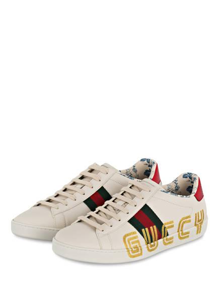 GUCCI Sneaker NEW ACE GLITTER, Farbe: WEISS (Bild 1)