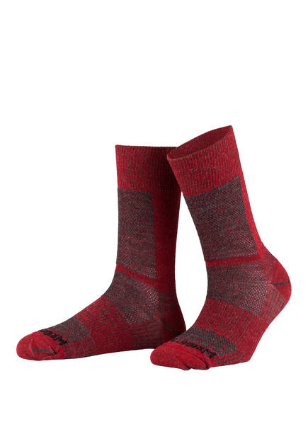 WRIGHTSOCK Trekking-Socken COOLMESH II MERINO CREW , Farbe: ROT/ GRAU (Bild 1)