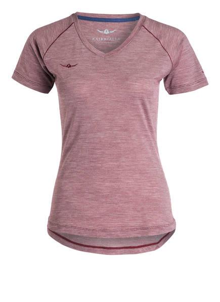 KAIKKIALLA T-Shirt TARJA mit Merinowolle-Anteil, Farbe: DUNKELROT MELIERT (Bild 1)