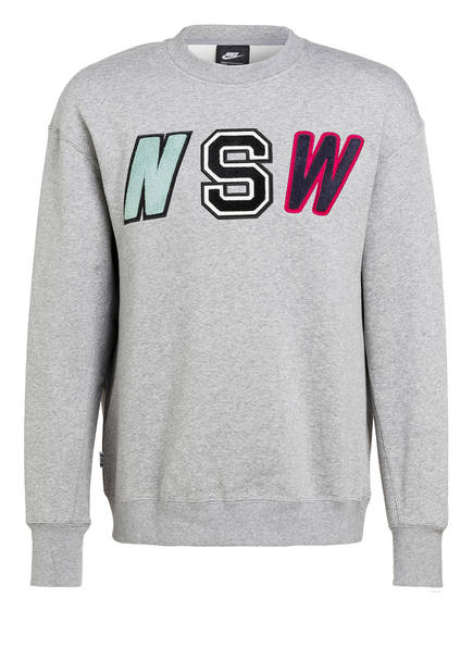 Nike Sweatshirt CREW FLEECE, Farbe: GRAU MELIERT (Bild 1)