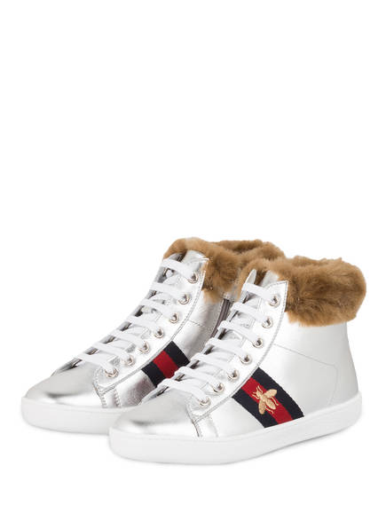 GUCCI Sneaker mit Kunstfell, Farbe: SILVER (Bild 1)
