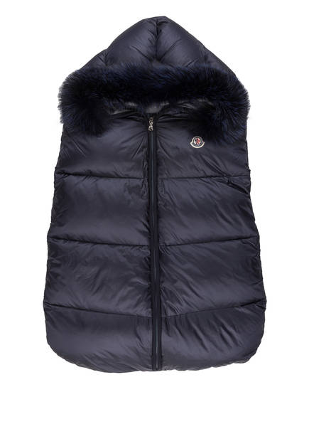 MONCLER Daunen-Schlafsack mit Echtpelzbesatz, Farbe: NAVY (Bild 1)