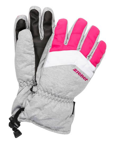 ziener Skihandschuhe LETT AS®, Farbe: PINK/ WEISS/ HELLGRAU MELIERT (Bild 1)