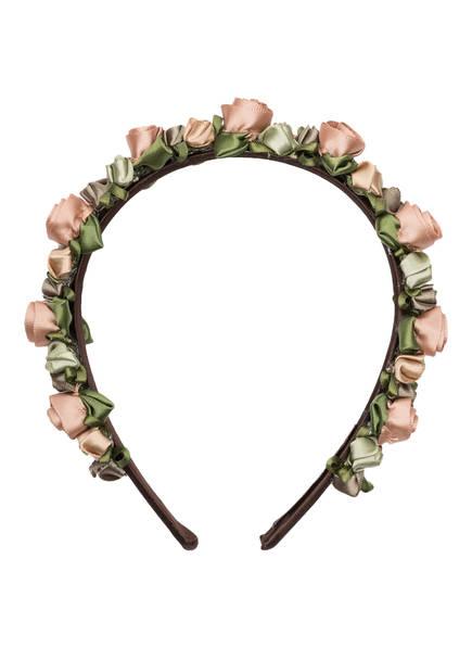 SCHÖNES FRÄULEIN Blumen-Haarreif FANNY, Farbe: GRÜN/ ROSÉ (Bild 1)