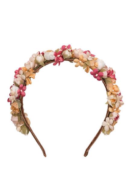 SCHÖNES FRÄULEIN Blumen-Haarreif ANNI, Farbe: ROSA/ ORANGE/ WEISS (Bild 1)