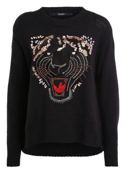 Guess Mit Guess Paillettenbesatz Schwarz Pullover Pullover R6Tqw1Ow