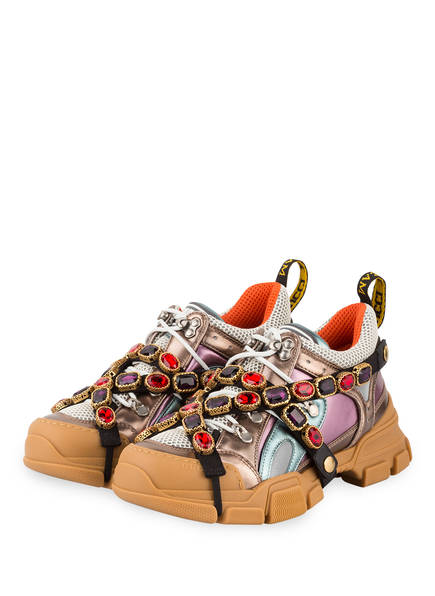 GUCCI Plateau-Sneaker FLASHTREK mit Schmucksteinbesatz, Farbe: MULTI METALLIC (Bild 1)