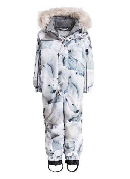 molo Schneeanzug mit abnehmbarem Kunstpelzbesatz, Farbe: WEISS/ GRAU (Bild 1)