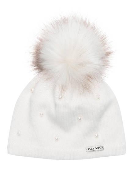 norton Mütze mit Perlenbesatz und Kunstpelzbommel, Farbe: CREME (Bild 1)