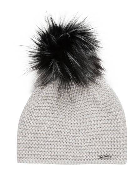 CAPO Mütze mit Kunstpelzbommel, Farbe: SILBER (Bild 1)