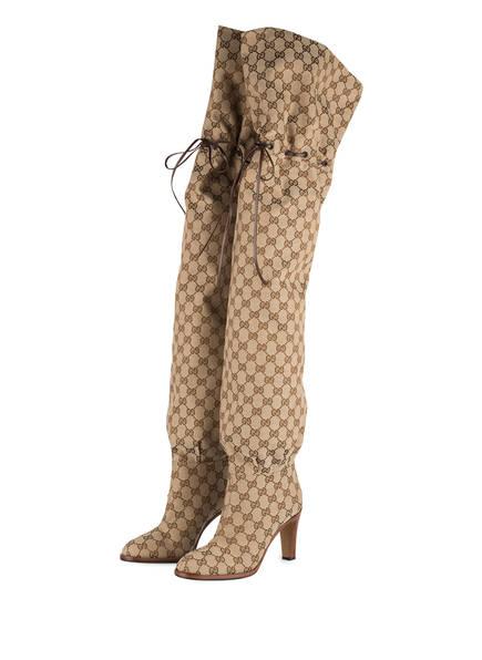 GUCCI Overknee-Stiefel, Farbe: BEIGE EBONY (Bild 1)