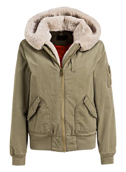 IQ+berlin Jacke mit Lammfellbesatz, Farbe: GRÜN (Bild 1)