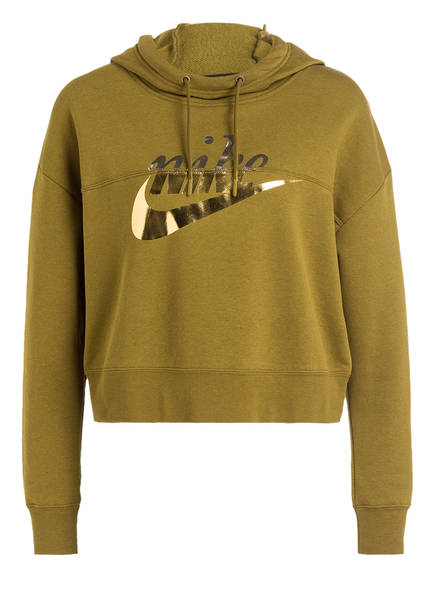 Nike Cropped-Hoodie RALLY METALLIC, Farbe: OLIV (Bild 1)