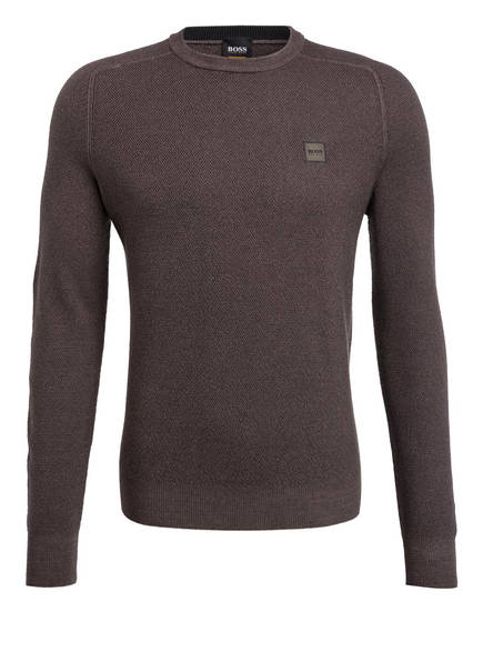 BOSS Schurwoll-Pullover AKUSTO, Farbe: TAUPE (Bild 1)