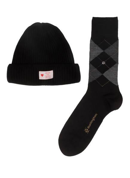 Burlington Geschenkset Socken und Mütze, Farbe: SCHWARZ/ GRAU (Bild 1)