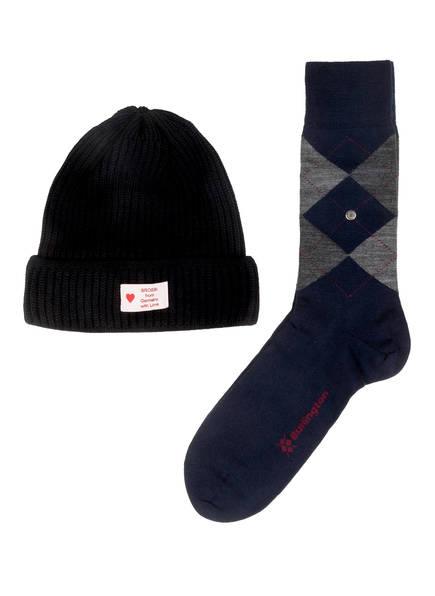 Burlington Geschenkset Socken und Mütze, Farbe: DUNKELBLAU/ GRAU (Bild 1)