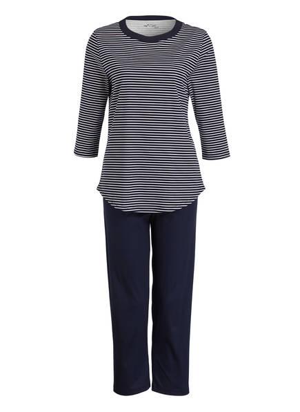 mey Schlafanzug mit 7/8-Hose, Farbe: DUNKELBLAU/ WEISS GESTREIFT (Bild 1)
