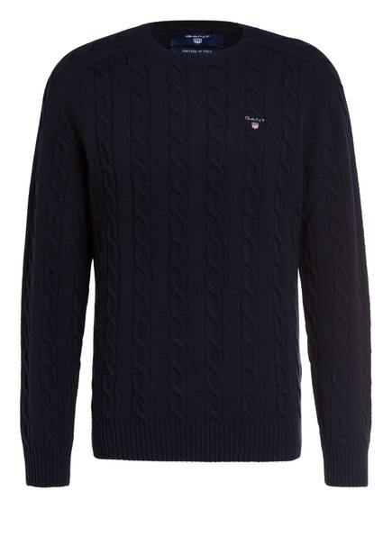 GANT Lambswool-Pullover mit Zopfmuster, Farbe: MARINE (Bild 1)