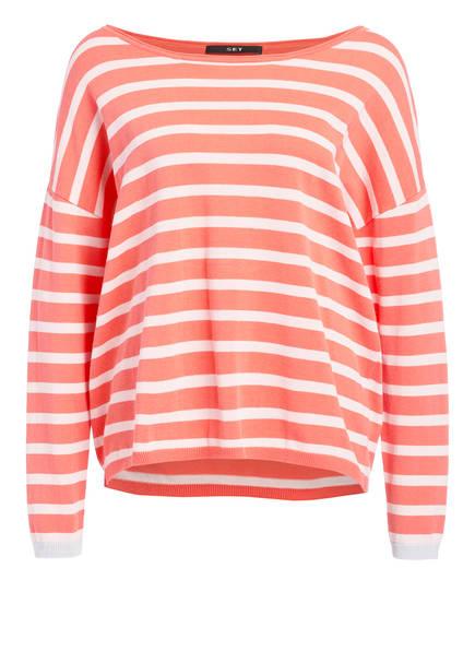 SET Pullover, Farbe: HELLROT/ ECRU GESTREIFT (Bild 1)