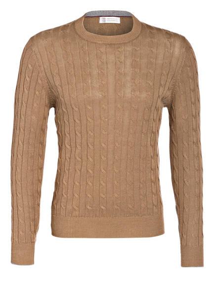 BRUNELLO CUCINELLI Pullover mit Leinenanteil, Farbe: HELLBRAUN (Bild 1)