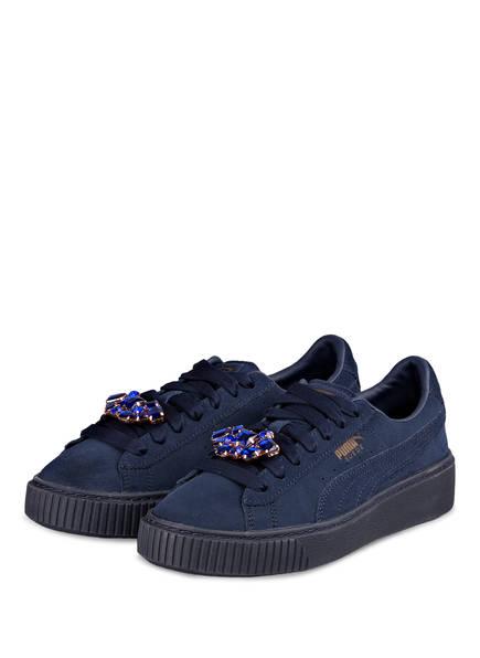 PUMA Sneaker SUEDE PLATFORM GEM mit abnehmbarer Schmuckbrosche, Farbe: BLAU (Bild 1)