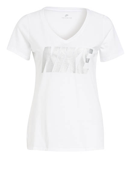 Nike T-Shirt METALLIC BLOCK, Farbe: WEISS/ SILBER (Bild 1)