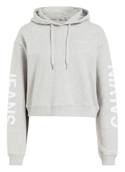 Calvin Klein Jeans Cropped-Hoodie, Farbe: GRAU MELIERT (Bild 1)