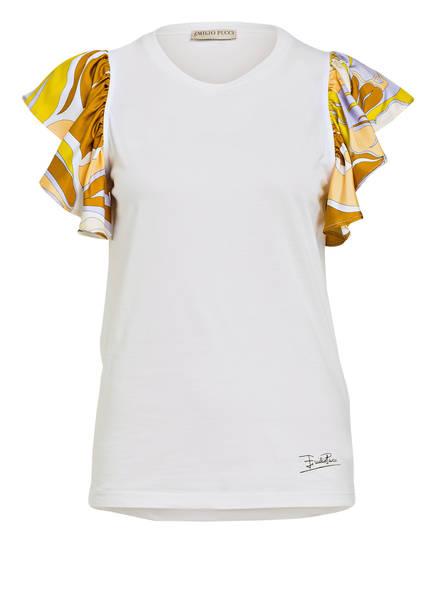 EMILIO PUCCI T-Shirt mit Volantärmeln, Farbe: WEISS (Bild 1)