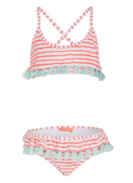 SUNUVA Bustier-Bikini UV-Schutz mit UPF 50+, Farbe: WEISS/ ORANGE (Bild 1)