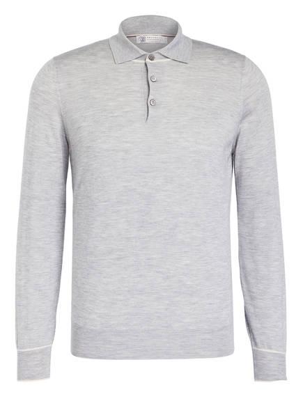 BRUNELLO CUCINELLI Cashmere-Poloshirt, Farbe: HELLGRAU MELIERT (Bild 1)