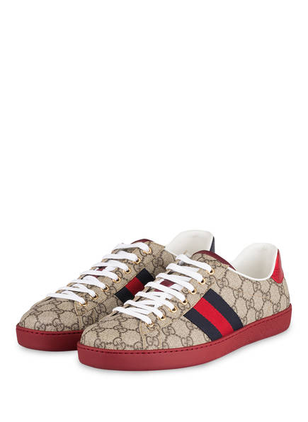 GUCCI Sneaker NEW ACE GG SUPREME, Farbe: BEIGE/ TAUPE/ ROT (Bild 1)