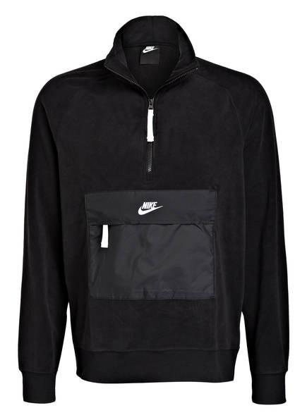 Nike Fleecepullover CORE im Materialmix, Farbe: SCHWARZ (Bild 1)