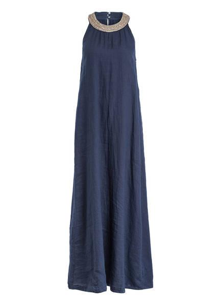 120%lino Leinenkleid mit Perlenbesatz, Farbe: DUNKELBLAU (Bild 1)