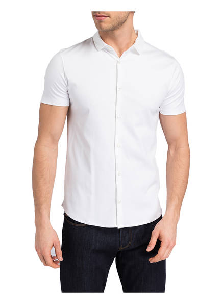 Slim halbarm Weiss Emporio Jersey hemd Fit Armani wIwHqUB