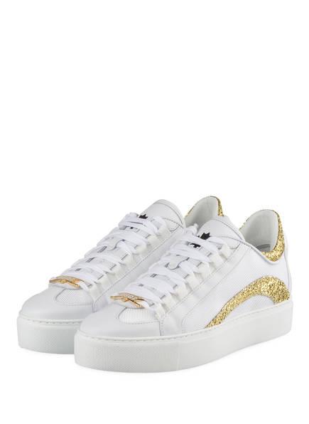 DSQUARED2 Plateau-Sneaker 251, Farbe: WEISS/ GOLD (Bild 1)