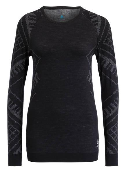 odlo Funktionswäsche-Shirt NATURAL + KINSHIP mit Merinowolle, Farbe: SCHWARZ MELIERT (Bild 1)