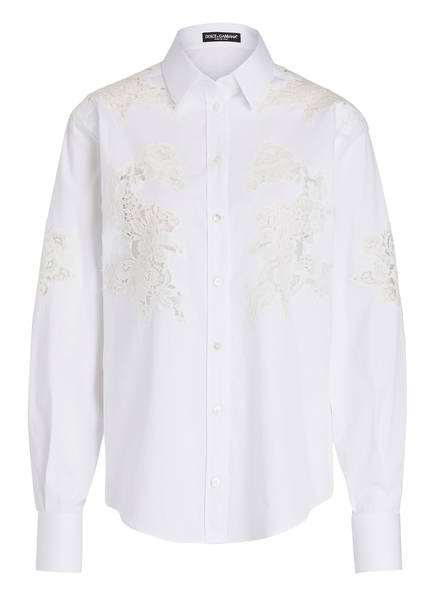 DOLCE&GABBANA Bluse mit Spitzenbesatz, Farbe: WEISS (Bild 1)