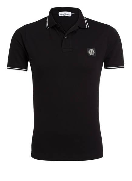 STONE ISLAND Piqué-Poloshirt Slim Fit, Farbe: SCHWARZ (Bild 1)