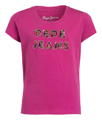 Pepe Jeans T-Shirt mit Paillettenbesatz, Farbe: PINK (Bild 1)