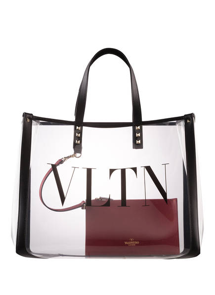 VALENTINO GARAVANI Shopper VLTN, Farbe: TRANSPARENT/ DUNKELROT (Bild 1)