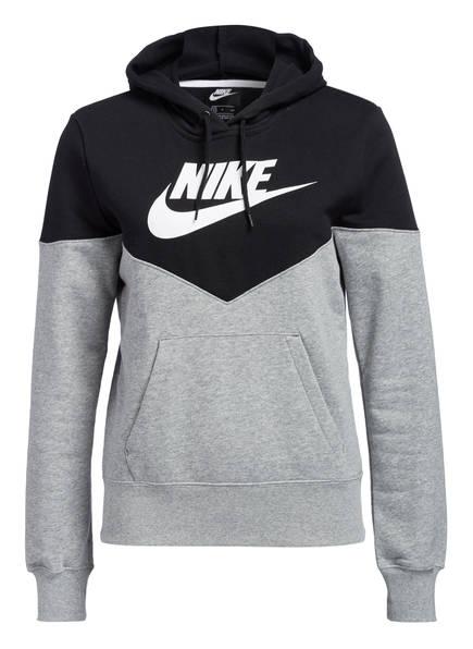 Nike Hoodie HERITAGE, Farbe: SCHWARZ/ GRAU MELIERT (Bild 1)