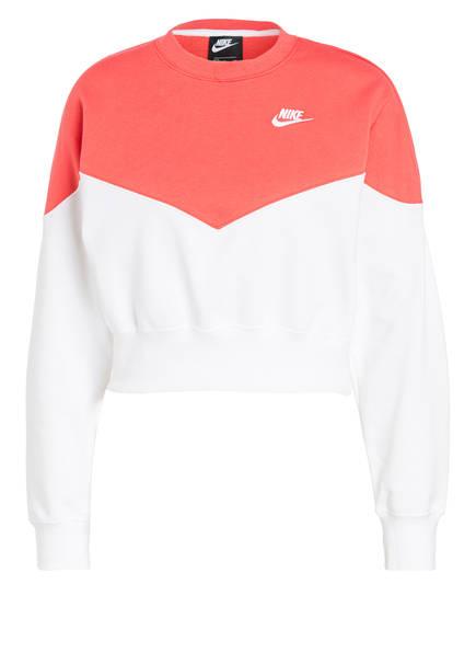 Nike Sweatshirt HERITAGE, Farbe: WEISS/ NEONLACHS (Bild 1)