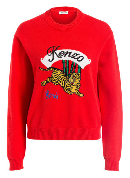 Kenzo Rot Kenzo Tiger Jumping Strickpullover Strickpullover 1pwaqf