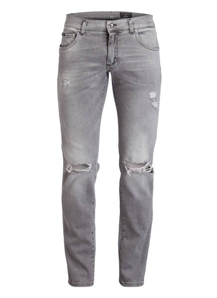 DOLCE&GABBANA Destroyed-Jeans Skinny Fit, Farbe: GRAU (Bild 1)