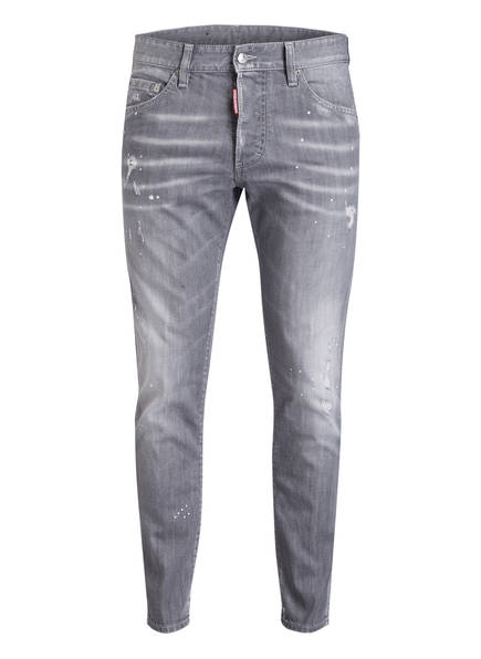 DSQUARED2 Destroyed-Jeans DAN Skinny Fit, Farbe: LIGHT GREY (Bild 1)