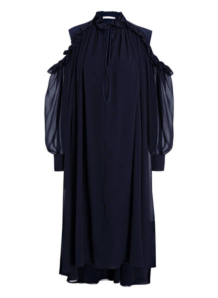 Chloé Cold-Shoulder-Kleid aus Seide, Farbe: DUNKELBLAU (Bild 1)