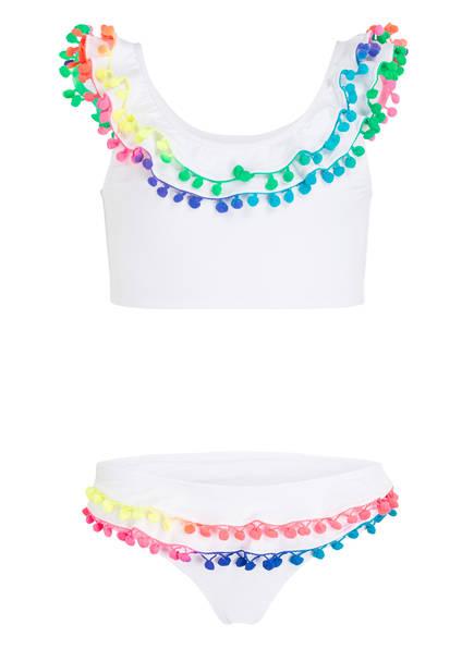 PILYQ Bustier-Bikini mit Pompons, Farbe: WEISS (Bild 1)